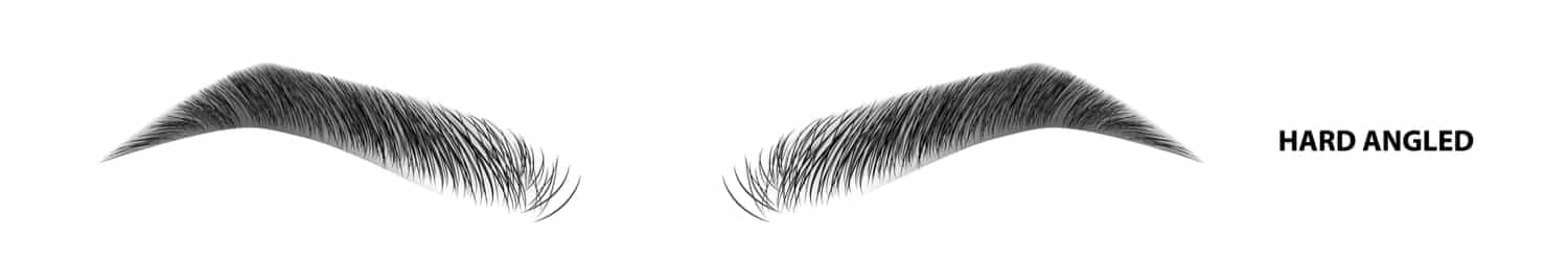 An illustration of hard-angled eyebrows after waxing