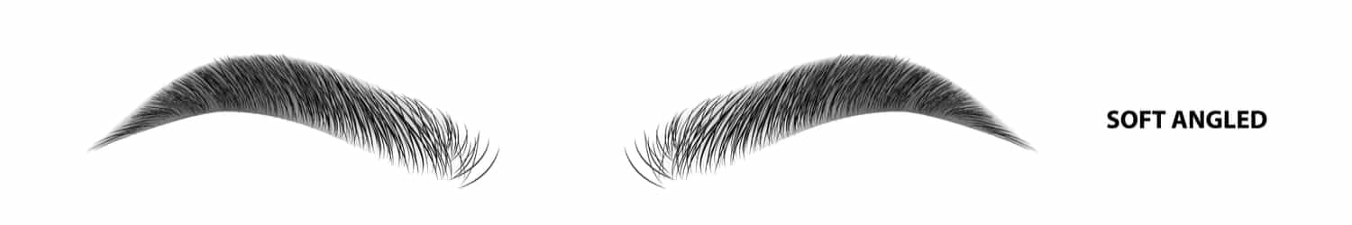 An illustration of soft-angled eyebrows after waxing